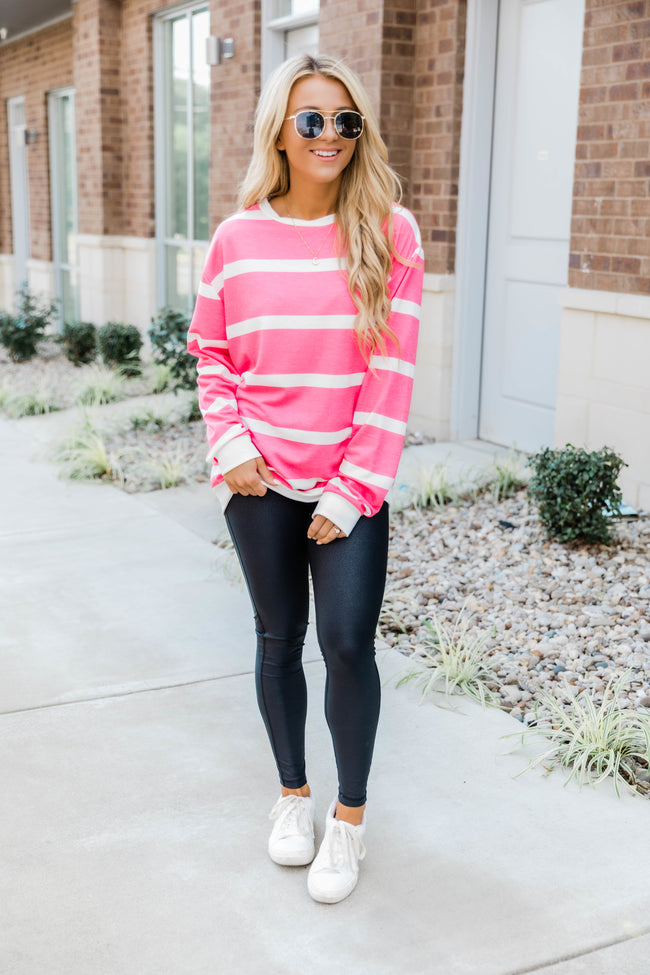 You Know Me Better Hot Pink Striped Pullover