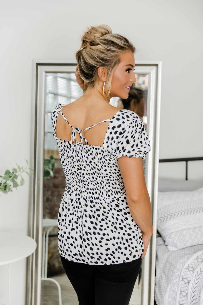 You Set Me Free White Animal Print Blouse