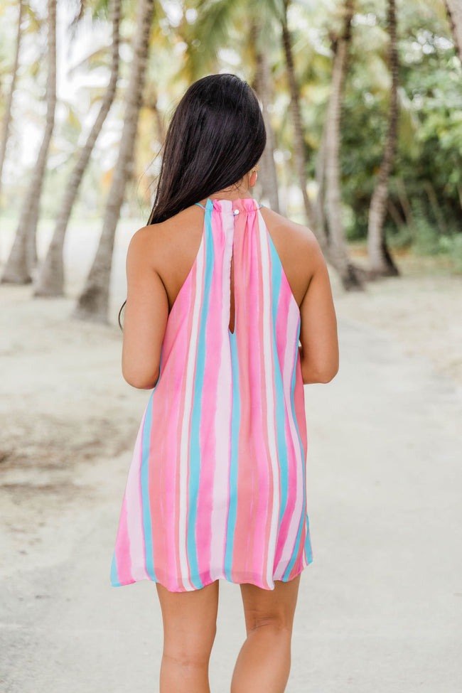 You Should Be Mine Coral Striped Dress