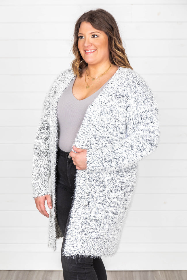 You're A Mind Reader Fuzzy Cardigan Grey