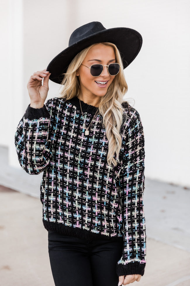 You're My Darling Black Tweed Sweater