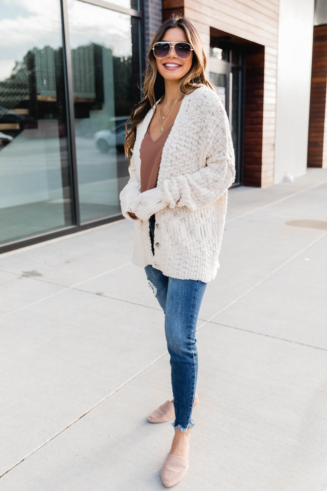 You're On My Mind Knit Cardigan Cream