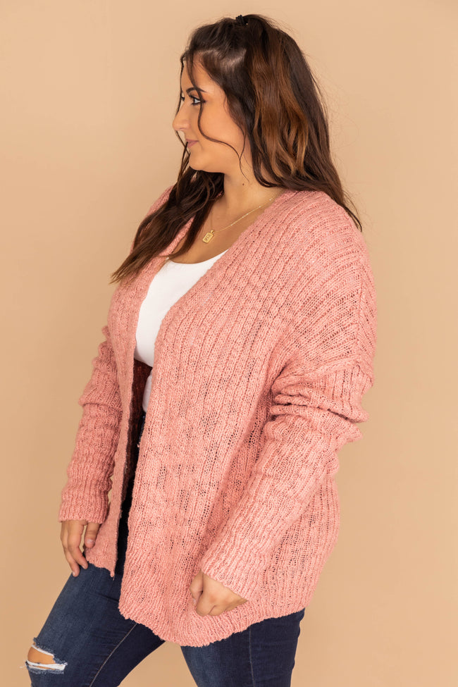 You're On My Mind Knit Mauve Cardigan