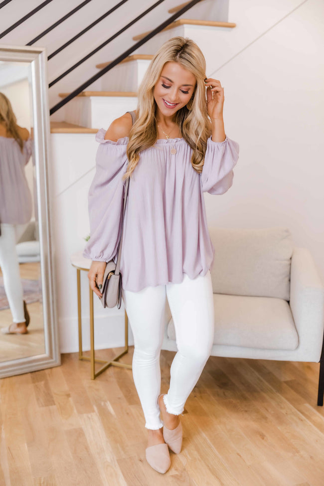 You'll Miss My Love Ruffle Blouse Dusty Lavender