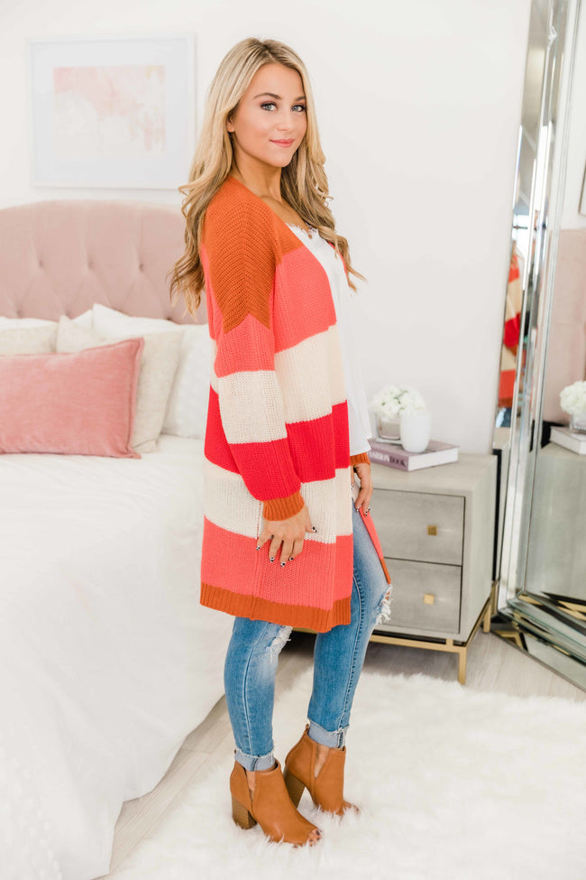You're Here With Me Red Colorblock Cardigan