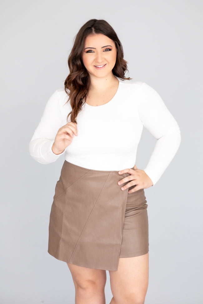 Yours Truly Leather Brown Wrap Skirt