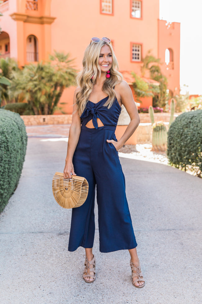 Fascinated With Your Heart Navy Jumpsuit