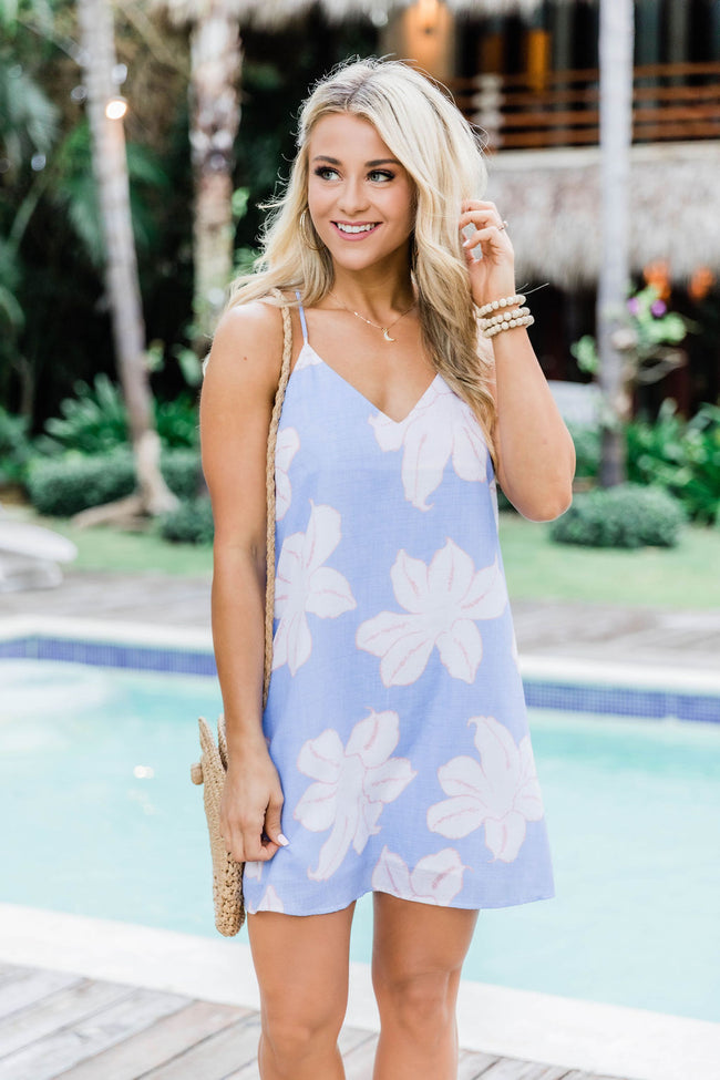 Island Days Floral Shift Dress Blue/Off White