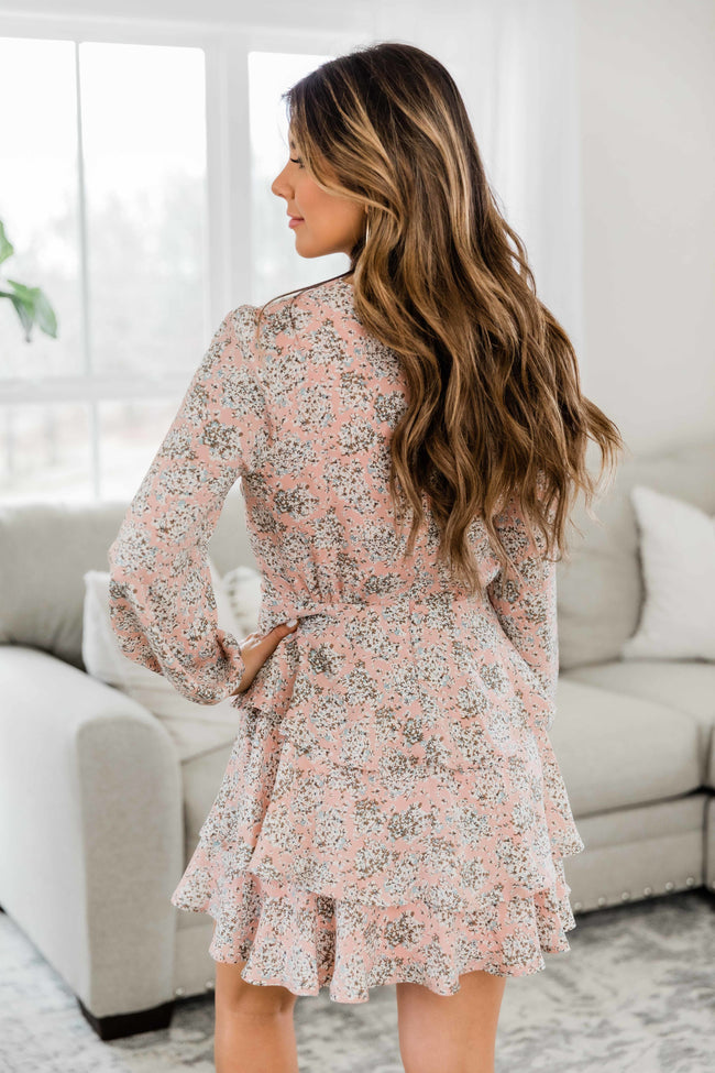 Poetic Love Ruffle Hem Floral Dress Pink