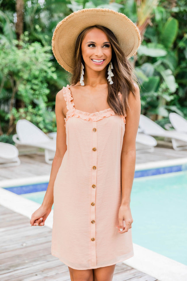 Summer Down South Ruffle Strap Dress Peach