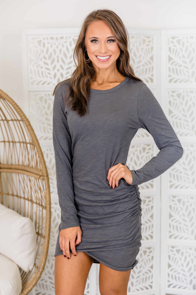 Sure To Fall In Love Charcoal Dress