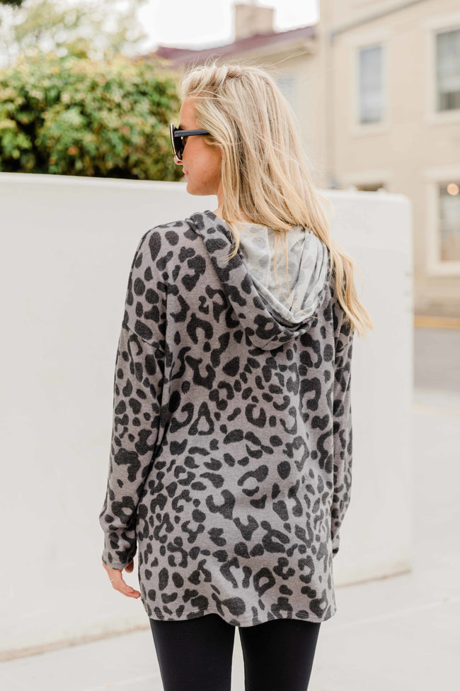 In Pursuit Of A Dream Grey Animal Print Hoodie