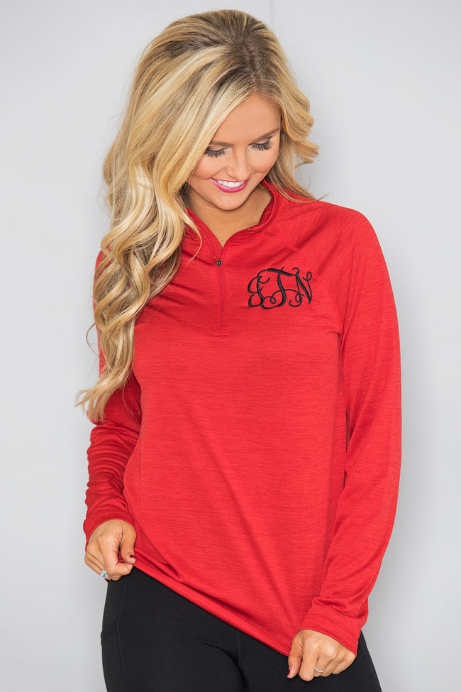 Monogrammed Red Active Pullover