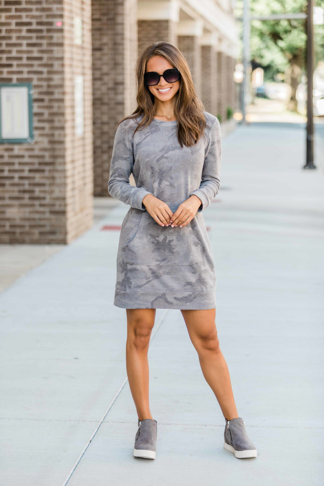 Nobody Knows Me Better Grey Camo Print Dress