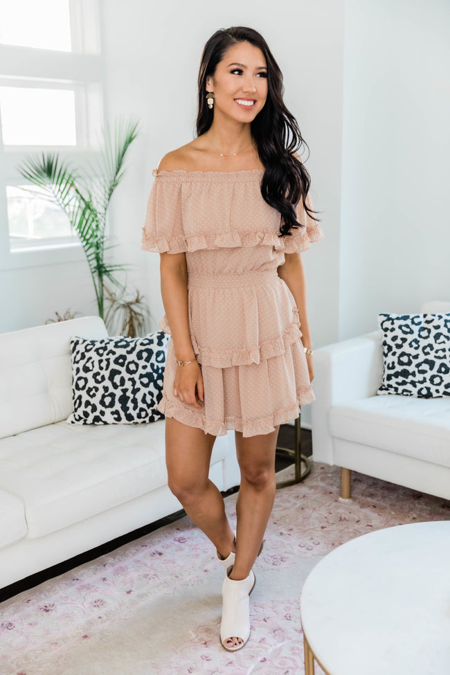 A Good Time For Love Taupe Polka Dot Dress