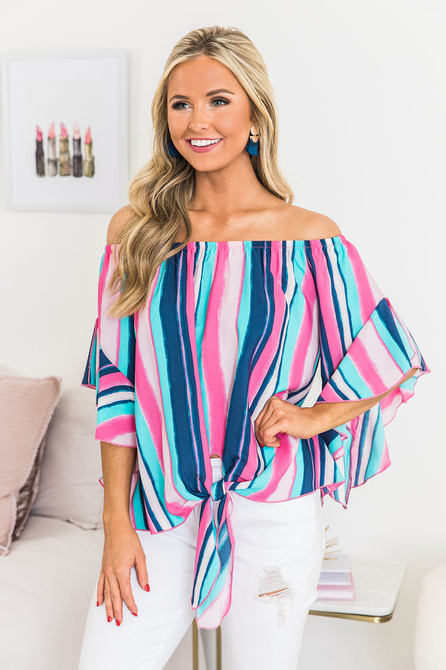 I Can See Forever Blue Striped Blouse