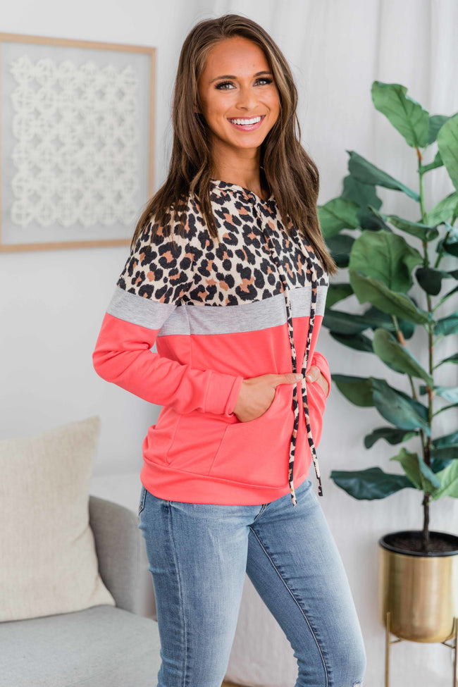 A Neverending Love Bright Coral Animal Print Hoodie