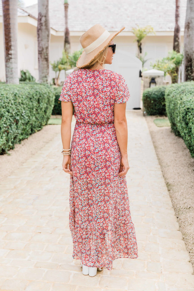 Somebody To Love Red Floral Maxi Dress