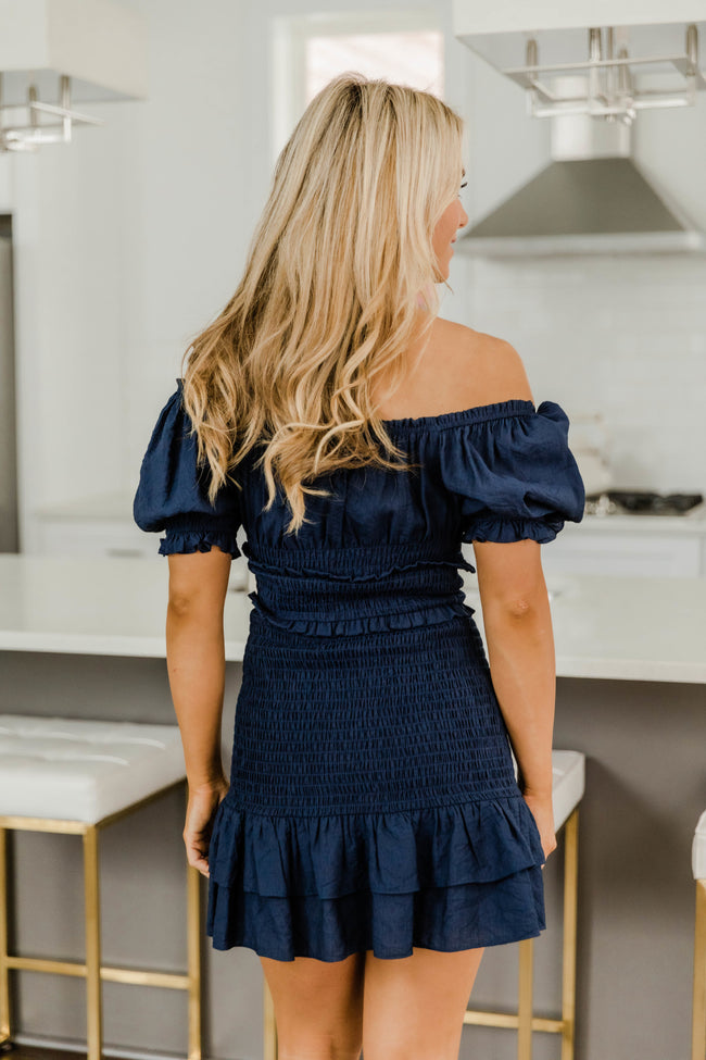 You See Me Now Smocked Waist Dress Navy