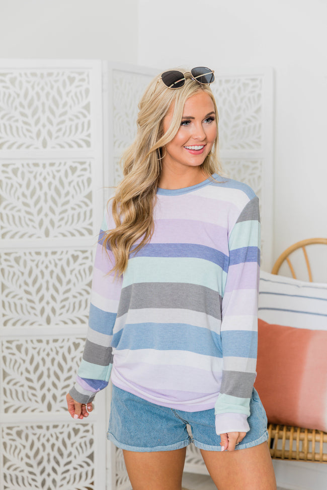 A New Hope Purple Multi Striped Pullover
