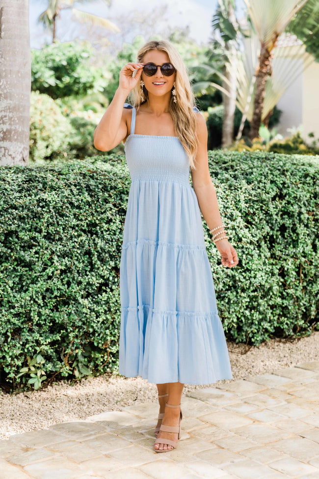 For Your Heart Only Light Blue Midi Dress
