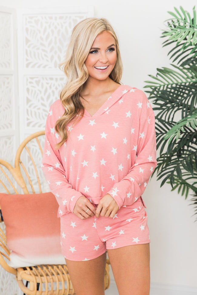 Endless Nights Coral Star Printed Pullover