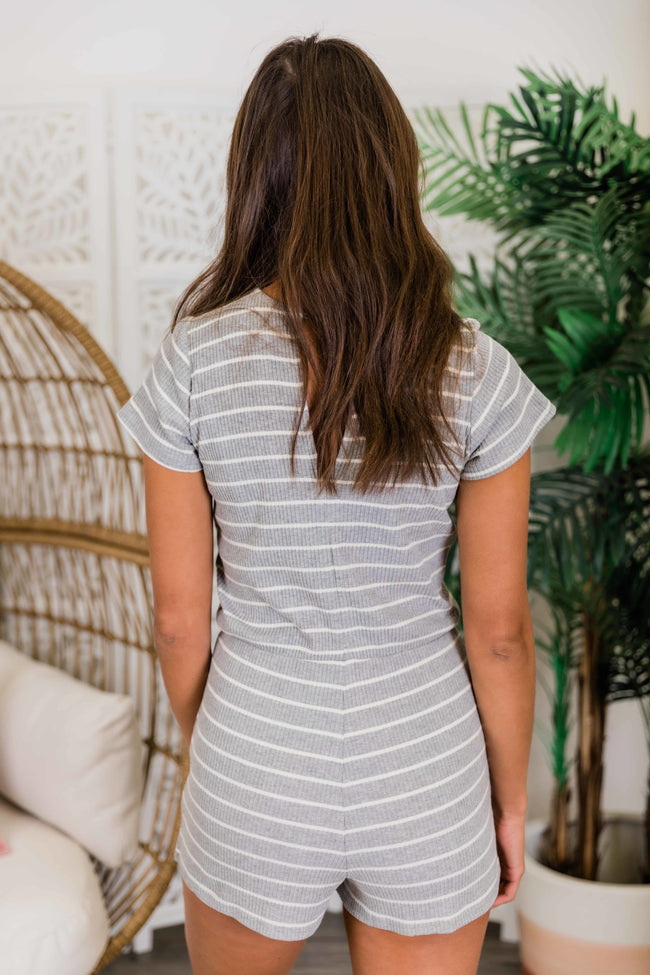 All For Your Love Grey Striped Romper FINAL SALE