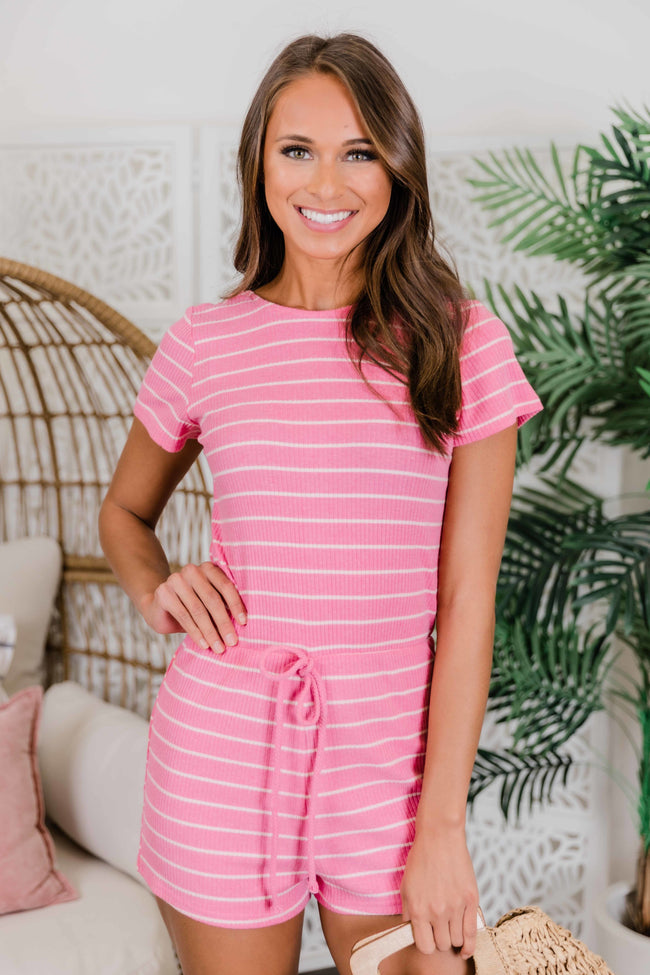 All For Your Love Pink Striped Romper CLEARANCE