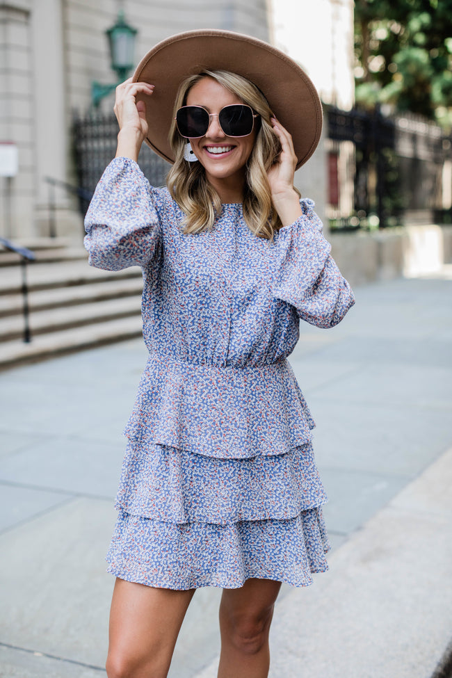 You're Wishing For This Dusty Blue Floral Dress