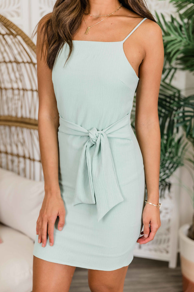 You Loved Me First Tie Front Dress Mint