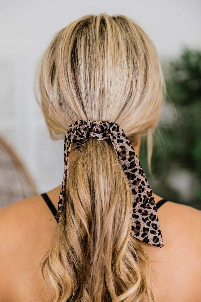 Wild Side Animal Print Hair Scarf Beige