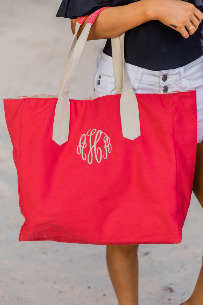 Day At The Beach Watermelon Monogrammed Tote