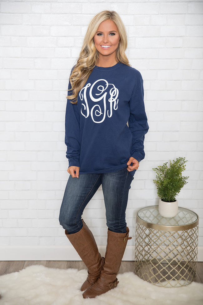 Comfort Colors True Navy Personalized Long Sleeve Tee