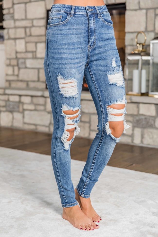 The Samantha Medium Wash Distressed Skinny Jeans