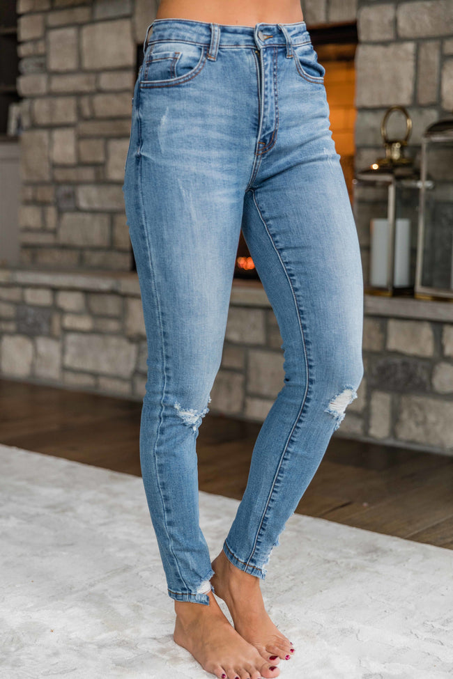 The Wendy Medium Wash Distressed Skinny Jeans