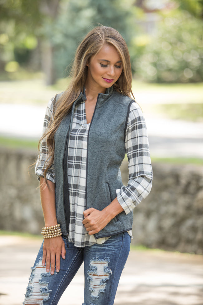 Monogrammed Charcoal Heathered Vest