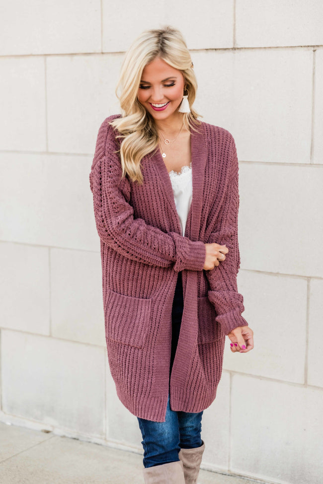 My New Love Dark Mauve Duster Cardigan FINAL SALE