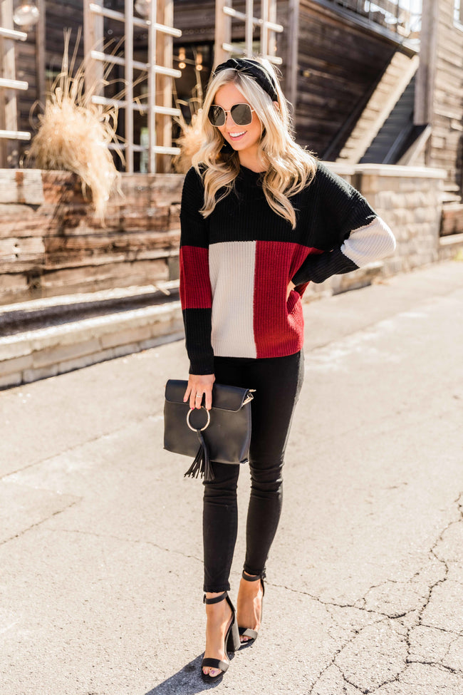 Told You About This Burgundy Colorblock Sweater FINAL SALE