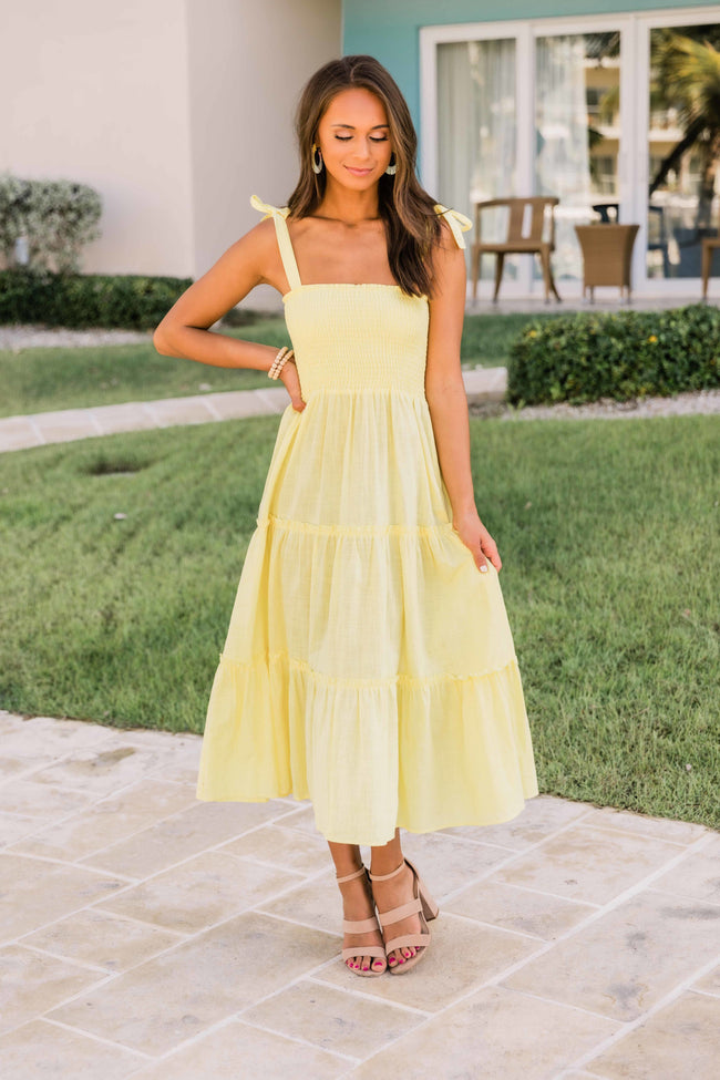 For Your Heart Only Yellow Midi Dress