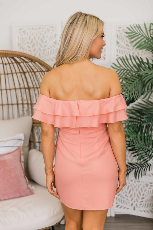 Never Late To The Party Peach Dress CLEARANCE