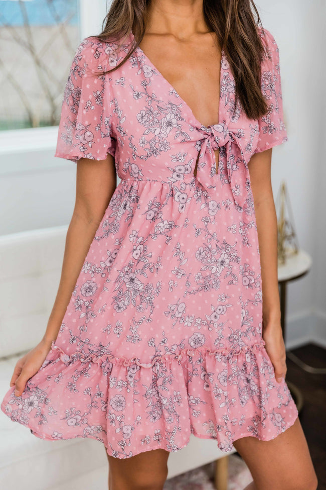 Always On The Go Tie Front Floral Dress Mauve FINAL SALE
