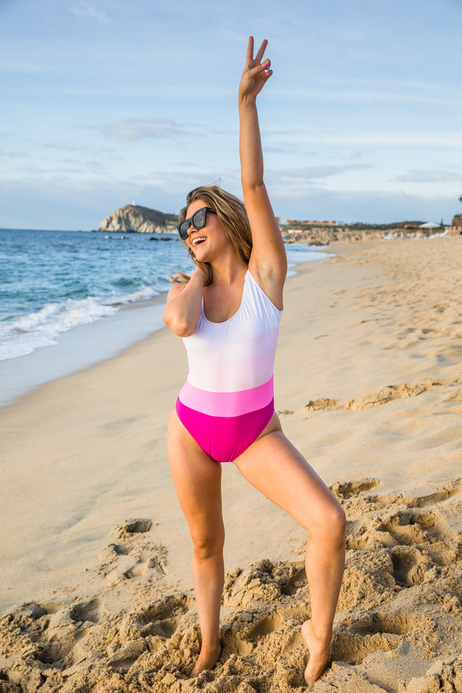Rescue My Heart Pink Colorblock Swimsuit FINAL SALE