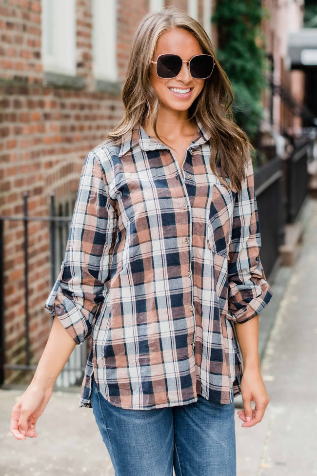 Western Journey Navy Plaid Blouse FINAL SALE