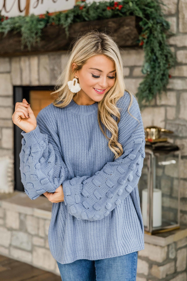 Perfect Time For Love Dusty Blue Sweater