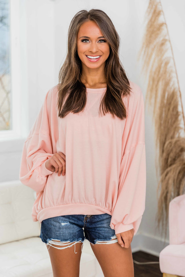 My Best Friend Drop Shoulder Pullover Coral