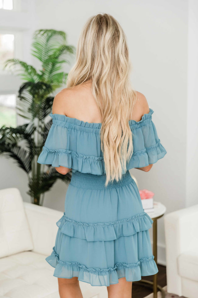 Ruffles In My Heart Dress Dusty Mint FINAL SALE