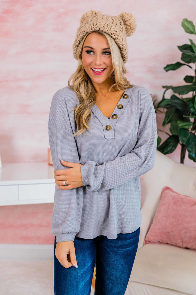 See The Beauty In Me Heather Grey Blouse
