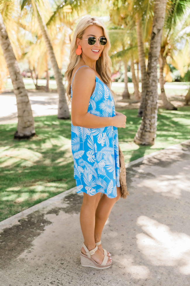 Cancun Is Calling Blue Printed Dress FINAL SALE