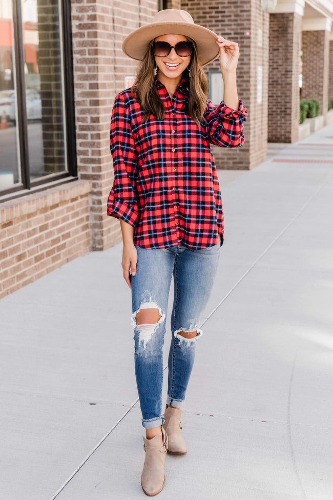 Just Have Some Fun Red Plaid Blouse  FINAL SALE