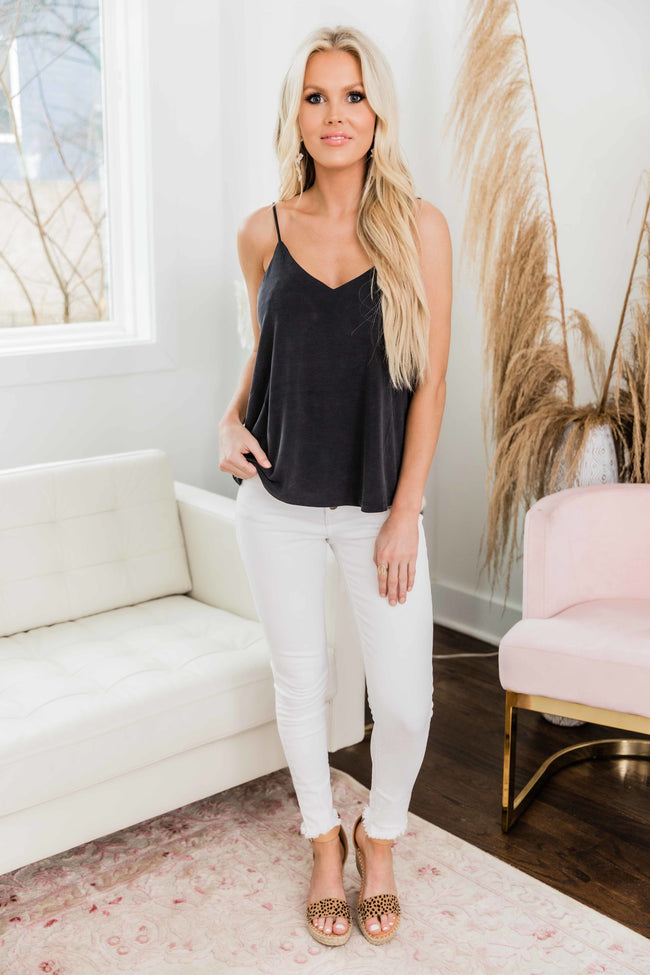 Down For You Solid Layering Tank Black
